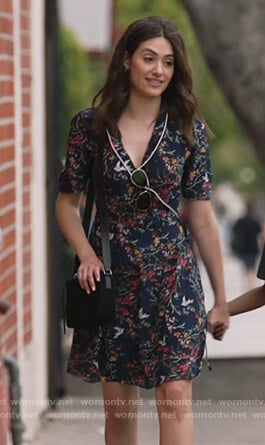 Fiona's blue floral print wrap dress on Shameless