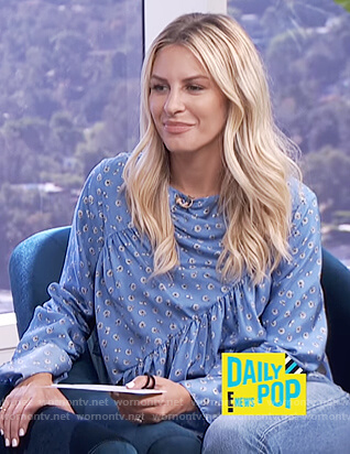 Morgan's blue gathered blouse on E! News Daily Pop