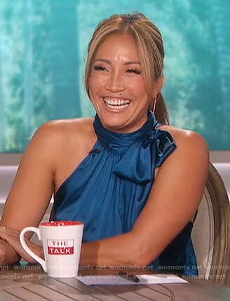 Carrie Inaba's satin halterneck top on The Talk