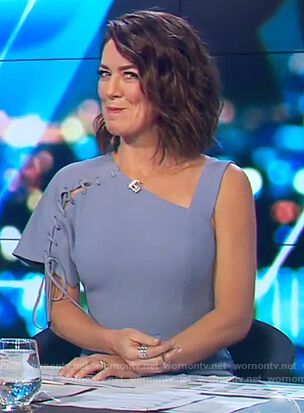 Gorgi's blue lace-up detail dress on The Project
