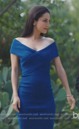 Castel's blue off shoulder sheath dress on Queen of the South