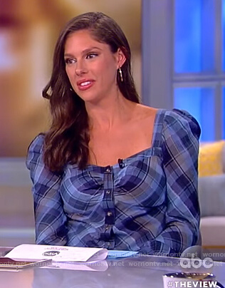 Abby's blue plaid square neck top on The View