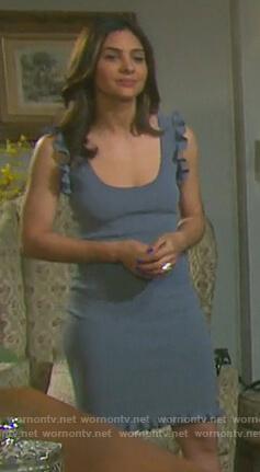 Gabi's blue ruffle trim dress on Days of our Lives