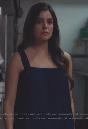 Isabela's blue square neck top on Queen of the South