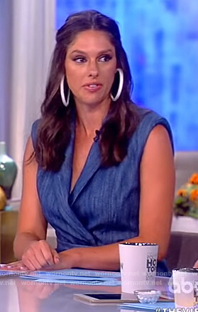 Abby's blue belted wrap mini dress on The View