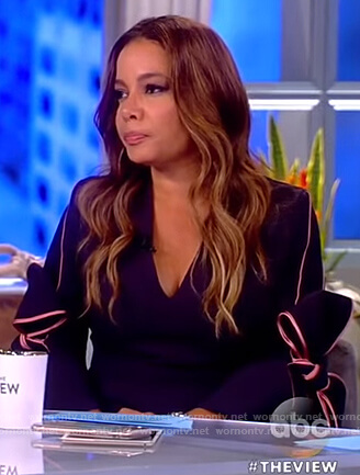 Sunny's navy bow sleeve dress on The View