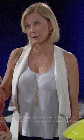 Brooke's light blue top and white vest on The Bold and the Beautiful
