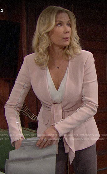 Brooke's pink tie-waist blazer on The Bold and the Beautiful