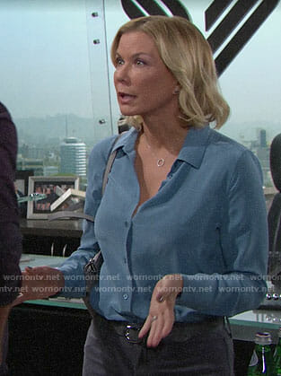 Brooke's blue button down blouse on The Bold and the Beautiful