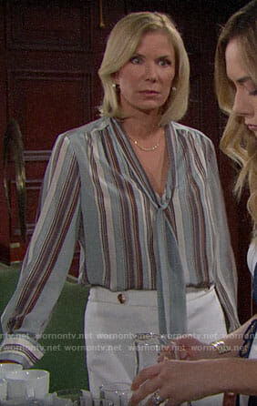 Brooke's blue striped tie-neck blouse on The Bold and the Beautiful