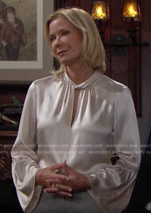 Brooke's off-white twist neck blouse on The Bold and the Beautiful
