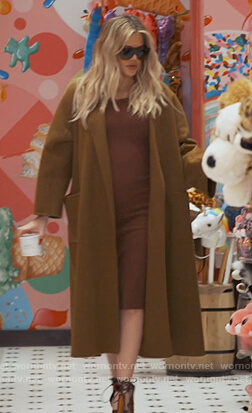 Khloe's brown wrap coat on Keeping Up with the Kardashians