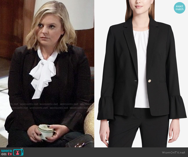 Calvin Klein Bell Sleeve Blazer worn by Maxie Jones (Kirsten Storms) on General Hospital