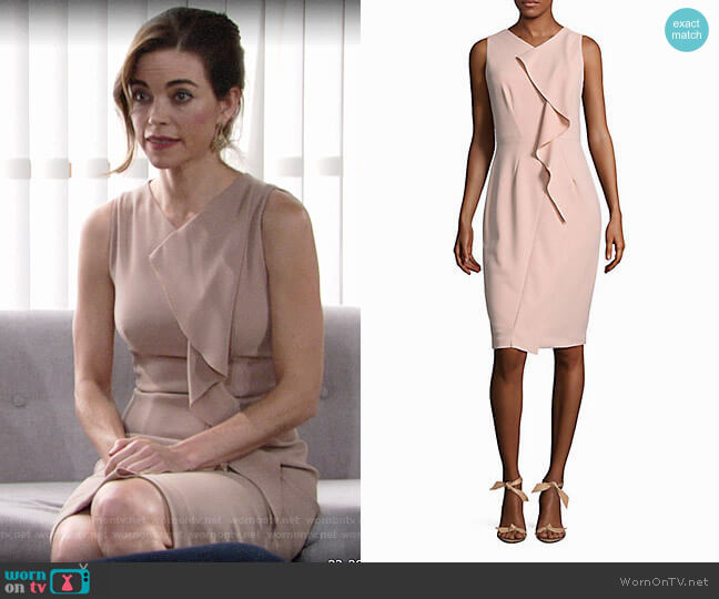 Calvin Klein Sleeveless Dress with Ruffle worn by Victoria Newman (Amelia Heinle) on The Young & the Restless