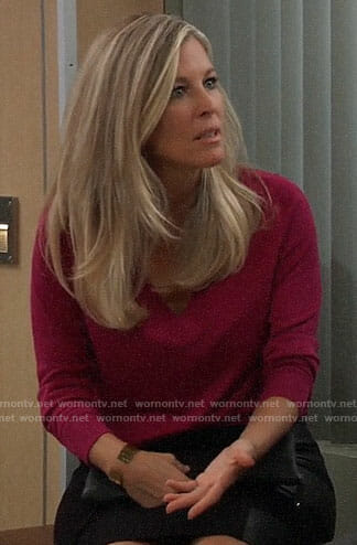 Carly's pink v-neck sweater and leather panel skirt on General Hospital