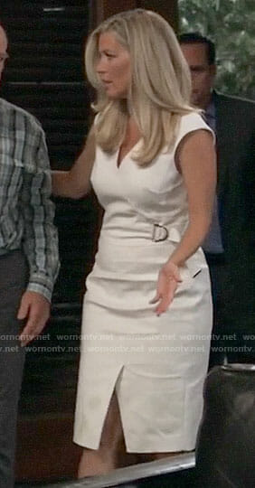 Carly's white belted dress on General Hospital