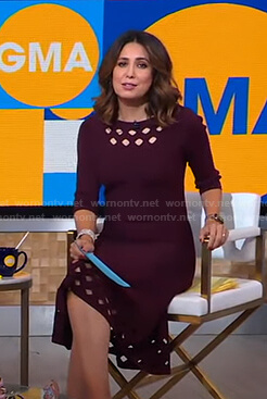 Cecilia's burgundy cutout dress on Good Morning America