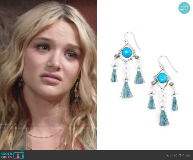 Chan Luu Tassel Drop Earrings worn by Hunter King on The Young & the Restless