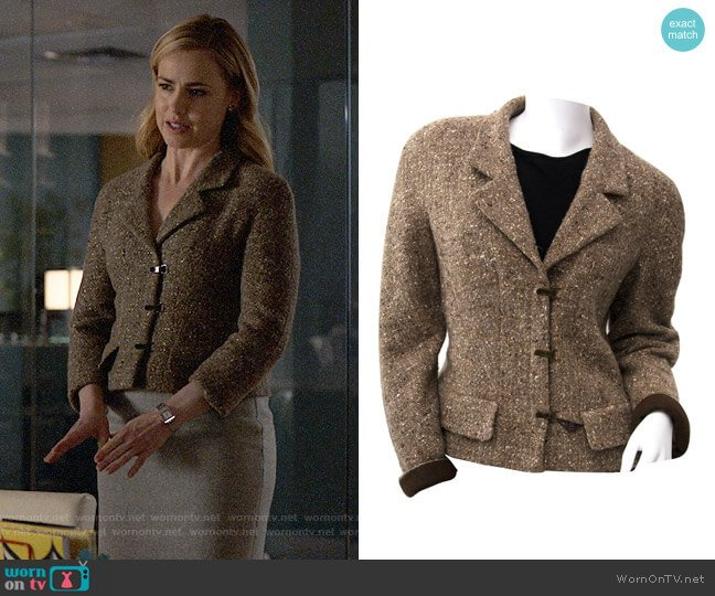 Chanel Brown Tweed Jacket worn by Amanda Schull on Suits