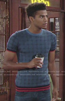 Charlie's blue plaid short sleeve sweater on The Young and the Restless