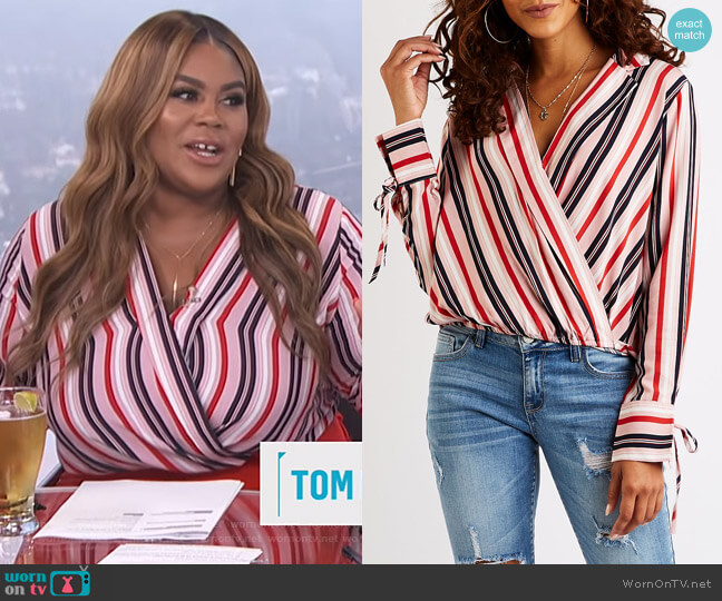 Striped Wrap Top by Charlotte Russe worn by Nina Parker  on E! News