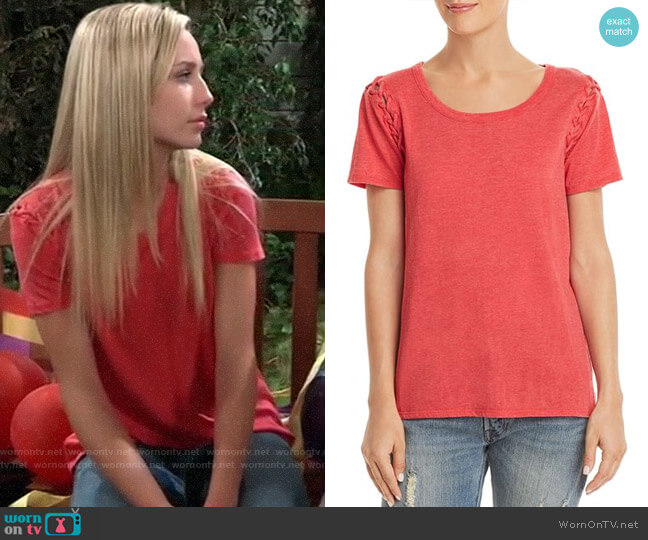 Chaser Lace-Up Sleeve Tee worn by Eden McCoy on General Hospital