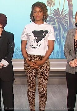 Eve's Nina Simone print tee and cheetah pants on The Talk