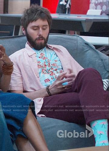 Chewey's cherry blossom tee and flamingo socks on I Feel Bad