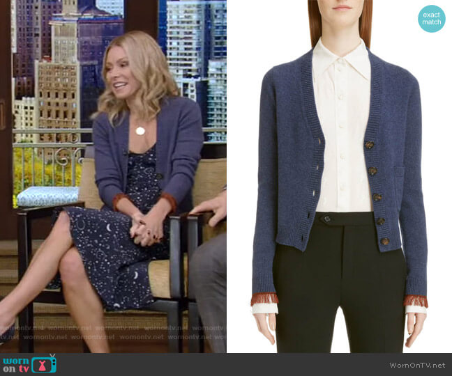 Fringe Cuff Cashmere Cardigan by Chloe worn by Kelly Ripa  on Live with Kelly & Ryan