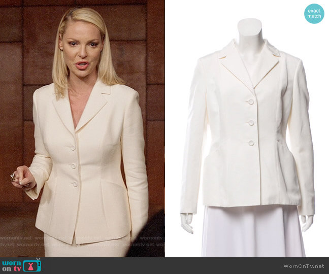 Christian Dior Structured Notched Lapel Blazer worn by Samantha Wheeler (Katherine Heigl) on Suits