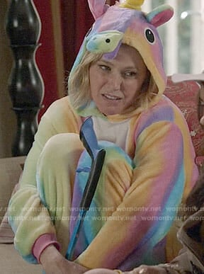 Claire's rainbow unicorn onesie on Modern Family