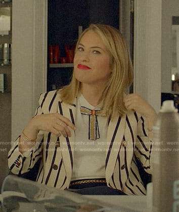 Coco's striped blazer and bow top on American Horror Story