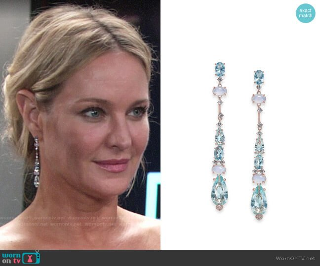 Danori Cubic Zirconia Linear Drop Earrings worn by Sharon Collins (Sharon Case) on The Young & the Restless