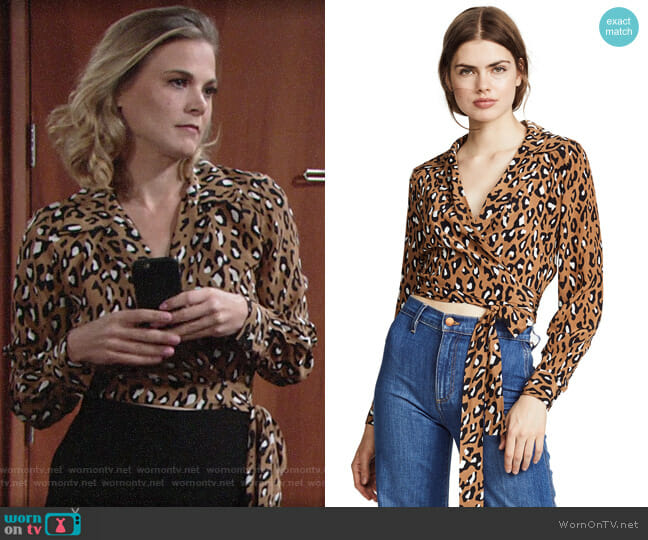 Diane von Furstenberg Witham Leopard Top worn by Gina Tognoni on The Young & the Restless