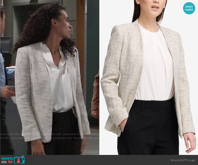 DKNY Tie-back Blazer worn by Jordan Ashford (Briana Nicole Henry) on General Hospital