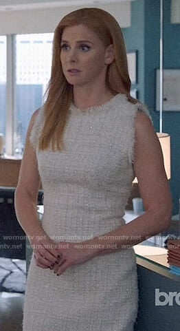 92e661eadfab WornOnTV: Donna's white tweed dress with black trim on Suits | Sarah  Rafferty | Clothes and Wardrobe from TV