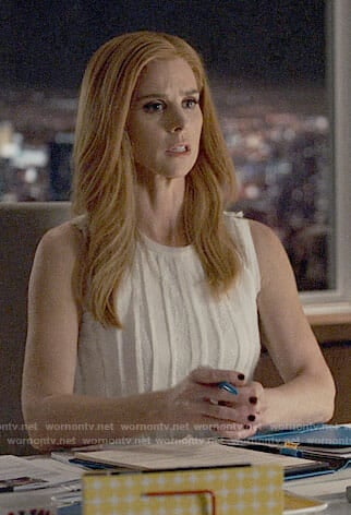 Donna's white lace layered dress on Suits