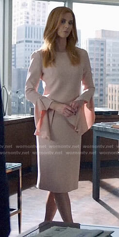 Donna's blush bell sleeve dress on Suits