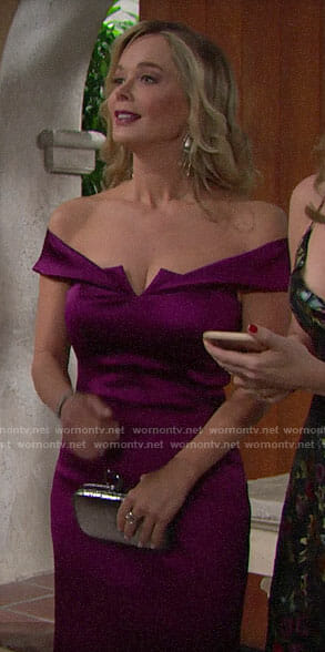 Donna's purple off-shoulder dress on The Bold and the Beautiful