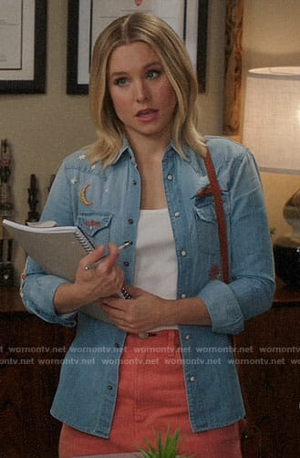 Eleanor's embroidered chambray shirt and coral denim skirt on The Good Place