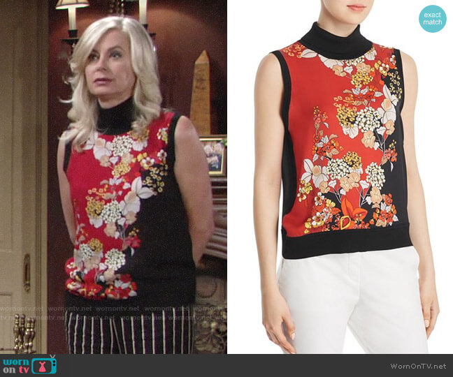 Elie Tahari Abigail Top worn by Ashley Abbott (Eileen Davidson) on The Young & the Restless