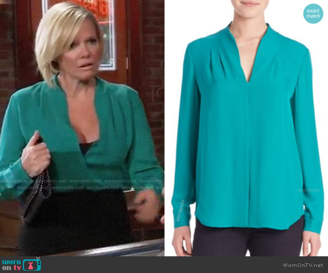 Elie Tahari Bea Blouse worn by Maura West on General Hospital