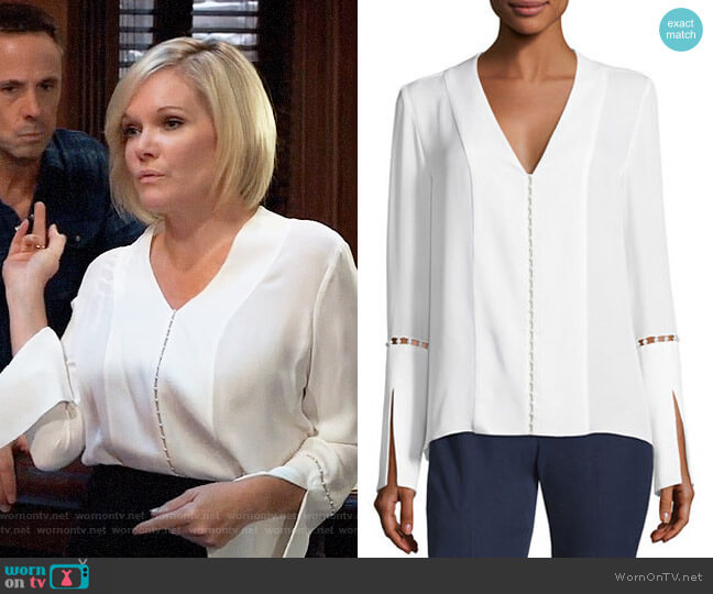 Elie Tahari Deb Blouse worn by Ava Jerome (Maura West) on General Hospital