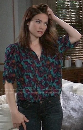 Elizabeth's blue floral top on General Hospital