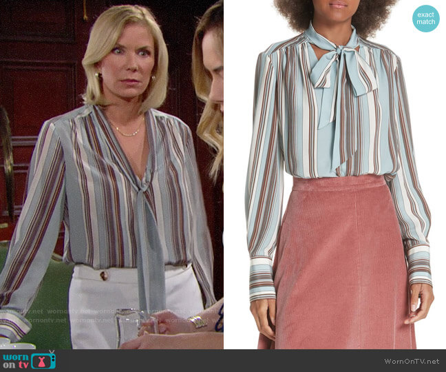 Elizabeth and James Mimi Striped Blouse worn by Brooke Logan (Katherine Kelly Lang) on The Bold & the Beautiful