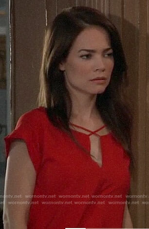 Elizabeth's red criss-cross strap top on General Hospital