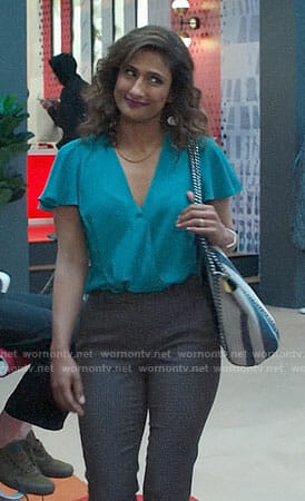 Emet's teal wrap top and striped tote bag on I Feel Bad