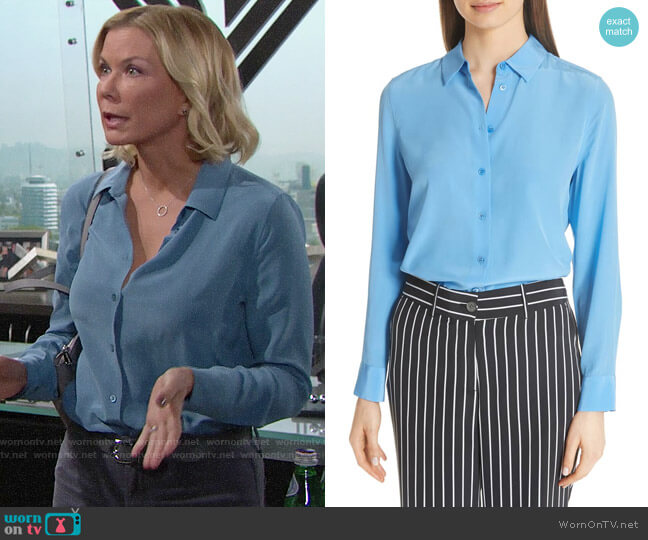 Equipment Essential Silk Shirt worn by Brooke Logan (Katherine Kelly Lang) on The Bold & the Beautiful