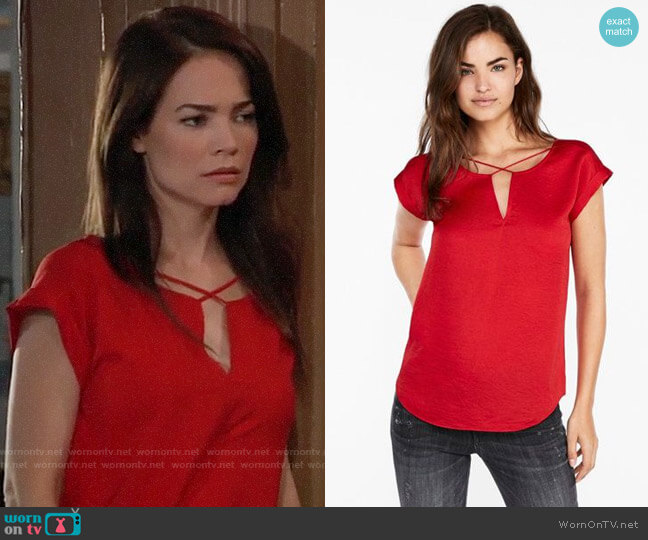 Express Satin Cross Front Gramercy Tee worn by Rebecca Herbst on General Hospital