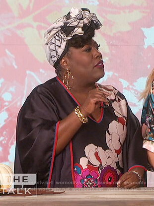 Sheryl's floral v-neck drape top on The Talk